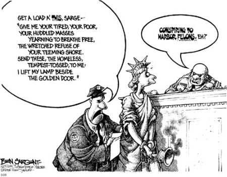 Liberty in Court Cartoon